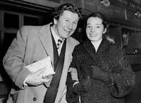 Peter Ustinov with his second wife Suzanne Cloutier in Paris, France.