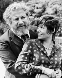 Peter Ustinov and his wife Helene du Lau dAllemans at the fashion week in Paris.