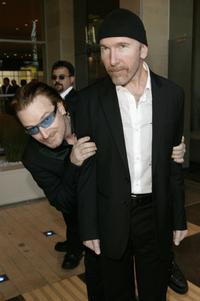 Bono and The Edge at the Thanksgiving Dinner for the 46664 Give One Minute of Your Life to AIDS.