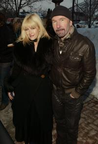 Director Lian Lunson and The Edge at the premiere of