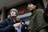 Mia Farrow and Gloria White-Hammond at the rally to protest against the genocide in Darfur.