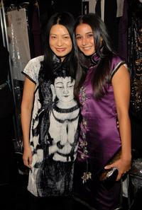 Vivienne Tam and Emmanuelle Chriqui at the Vivienne Tam Fall 2007 fashion show during the Mercedes-Benz Fashion Week.
