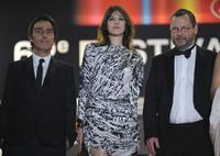 Yvan Attal, Charlotte Gainsbourg and Lars Von Trier at the 62nd Cannes Film Festival.