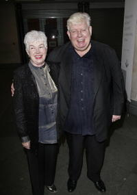 Richard Griffiths and his guest at the pre-screening drinks reception for