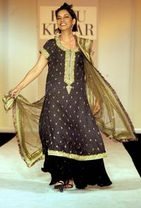 Shabana Azmi at the fashion show presents Winter-Spring 2005-06 collection.