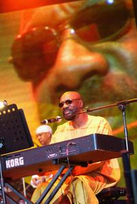 Isaac Hayes at the Open Air stage during the third day of the Big Chill music festival.
