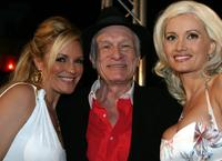 Bridget Marquardt, Hugh Hefner and Holly Madison at the party to celebrate his 80th birthday.