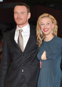 Michael Fassbender and Sarah Gadon at the premiere of