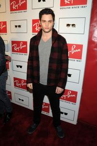 Penn Badgley at the Ray-Ban Remasters Legendary Clubmaster Shades.
