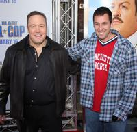Kevin James and Adam Sandler at the premiere of