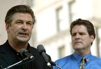 Alec Baldwin and Pat Quinn speaks to the protestors of the Actors Equity Union.