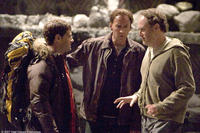 Justin Bartha, Nicolas Cage and director Jon Turteltaub on the set of