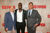 General Manager of BBC America Perry Simon, Ato Essandoh and president of production Cineflix Vlad Wolynetz at the New York premiere of