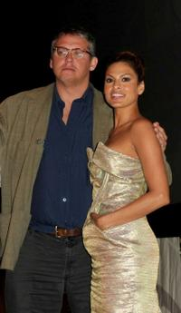 Adam McKay and Eva Mendes at the panel discussion of