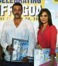 Sanjay Dutt and Lara Dutta at the announcement of the 36th Annual International Film Festival of India (IFFI) 2005.