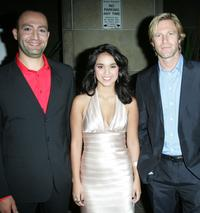 Peter Macdissi, Summer Bishil and Aaron Eckhart at the world premiere of