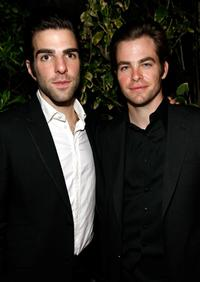 Zachary Quinto and Chris Pine at the GQ Men of the Year party.