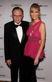 Larry King and Shawn Southwick-King at the Clive Davis pre-Grammy party.