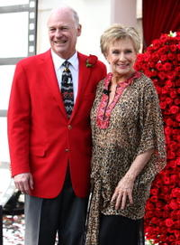 Ronald H. Conzonire and Cloris Leachman at the 2009 Pasadena Tournament of Roses Grand Marshal announcement.