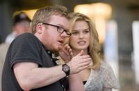 Director Jim Field Smith and Alice Eve on the set of