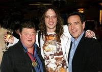 Radio DJ Jono Coleman, Justin Hawkins and Robert Lindsay at the after party of the UK premiere of