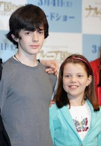 Skandar Keynes and Georgie Henley at the press conference to promote