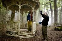 Saoirse Ronan and director Peter Jackson on the set of