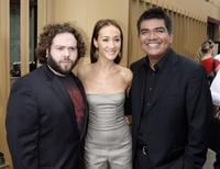 Dan Fogler, Maggie Q and George Lopez at the premiere of