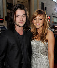 homas McDonell and Aimee Teegarden at the California premiere of