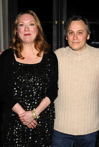 Kristine Nielsen and David Aaron Baker at the off-broadway opening night of