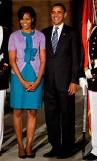 Michelle Obama and Barack Obama at the Evening Parade.