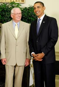 Neil Armstrong and Barack Obama at the White House in Washington.
