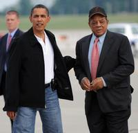 Barack Obama and Willie Mays at the All-Star game.