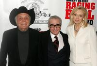 Jake LaMotta, Director Martin Scorsese and Cathy Moriarty at the special screening of