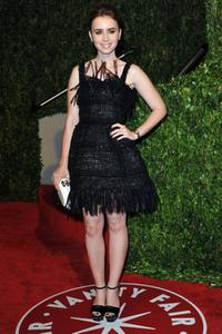 Lily Collins at the 2010 Vanity Fair Oscar party.