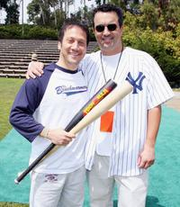Rob Schneider and Jack Giarraputo at the pre-premiere softball game with