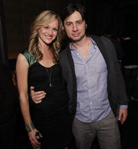 Kerry Bishe and Zach Braff at the after party of the premiere of