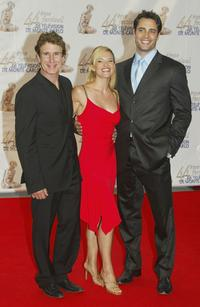 John Shea, Victoria Pratt and Victor Webster at the 44th Monte-Carlo Television Festival.