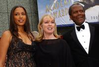 Anika Poitier, Joanna Shimkus and Sidney Poitier at the 74th Annual Academy Awards.