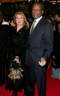 Joanna Shimkus and Sidney Poitier at the Broadway opening of