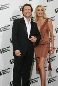 Christian Slater and Sharon Stone at the American Music Awards.