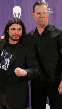 Robert Trujillo and James Hetfield at the 21st Annual Rock And Roll Hall Of Fame Induction Ceremony.