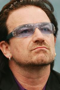 Bono at an press briefing at the end of the G8 summit.