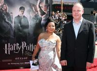 David Yates and Guest at the premier of