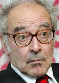 Jean-Luc Godard at a news conference in Tokyo.