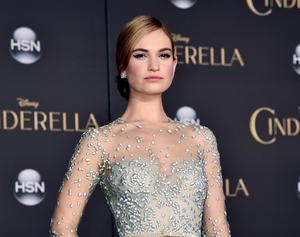 "Lily James at the California premiere of ""Cinderella."""