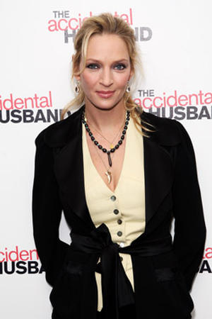 "Actress Uma Thurman at the London premiere of ""The Accidental Husband."""