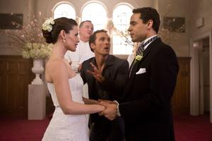 "Jennifer Garner as Jenny, Daniel Sunjata as Brad, Tom Kemp as Minister and Matthew Mcconaughey as Connor in ""The Ghosts of Girlfriends Past."""