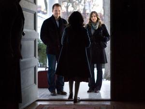"Peter Sarsgaard as John Coleman, Isabelle Fuhrman as Esther and Vera Farmiga as Kate Coleman in ""Orphan."""