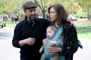 """Director Sam Mendes and Maggie Gyllenhaal on the set of """"Away We Go."""""""